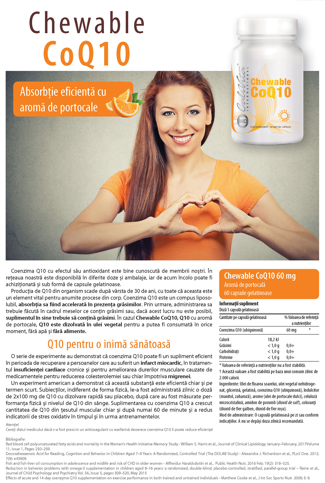 Chewable Co Q10 Orange Flavour (60 capsule gelatinoase masticabile) Calivita
